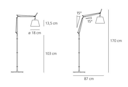 Artemide Tolomeo Basculante Terra vloerlamp-Perkament