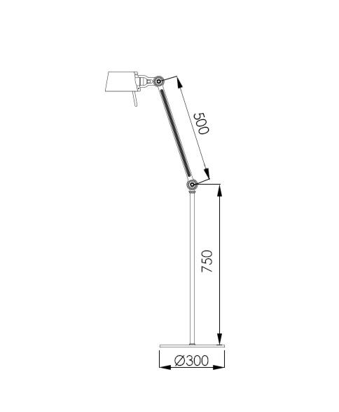 Tonone Bolt 1 arm vloerlamp-Black