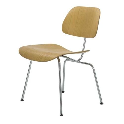 Vitra DCM stoel-Naturel essen-Hoogglans chroom