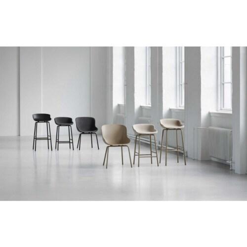 Normann Copenhagen Hyg barkruk front upholstery-Olijf groen-Zithoogte 65 cm