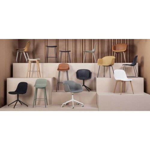 muuto Fiber Side Wood stoel-Grijs