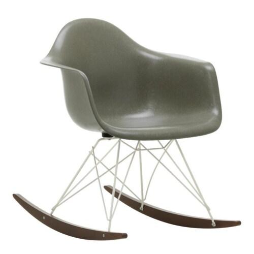 Vitra Eames RAR Fiberglass schommelstoel met verchroomd onderstel-Raw Umber-Esdoorn goud